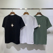 Is land logo t-shirt streetwear kanye west embroidery t shirts Reflective small patch hip hop harajuku tee casual tops tshirt