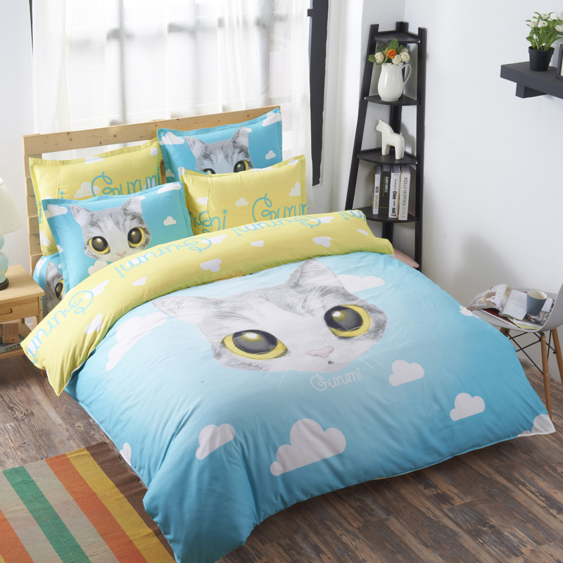 Home Textile White Cat Bedding Set Cartoon Bed Linen 4pcs Bedclothes Comforter Cover Bed Sheet Pillow Case Queen Free Shipping
