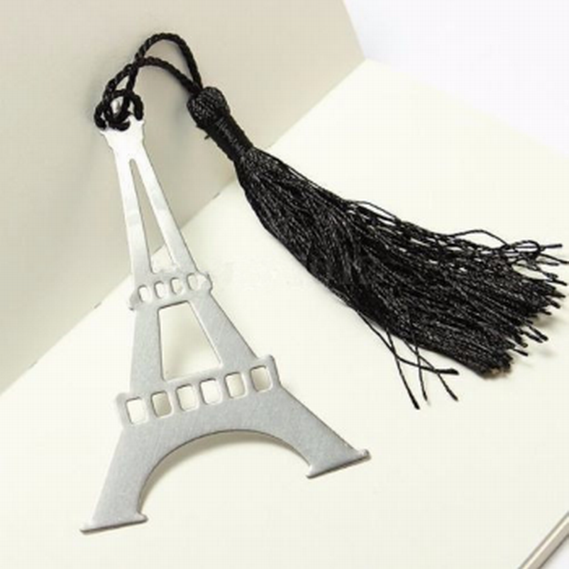 Wholesale 100PC Romantic Eiffel Tower Bookmarks With Tassel Metal Bookmark Stationery Party Favor Birthday Gifts Wedding Gifts