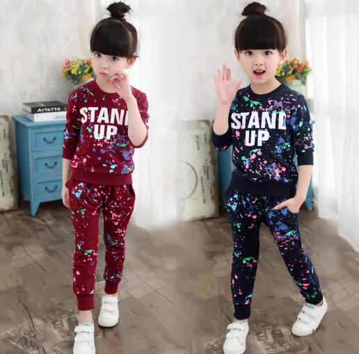 Girls Tracksuits Spring Children Clothes T-shirt+Pants Outfits Girls Sports Suits Graffiti Letter Clothing Sets For 5- 14 Y