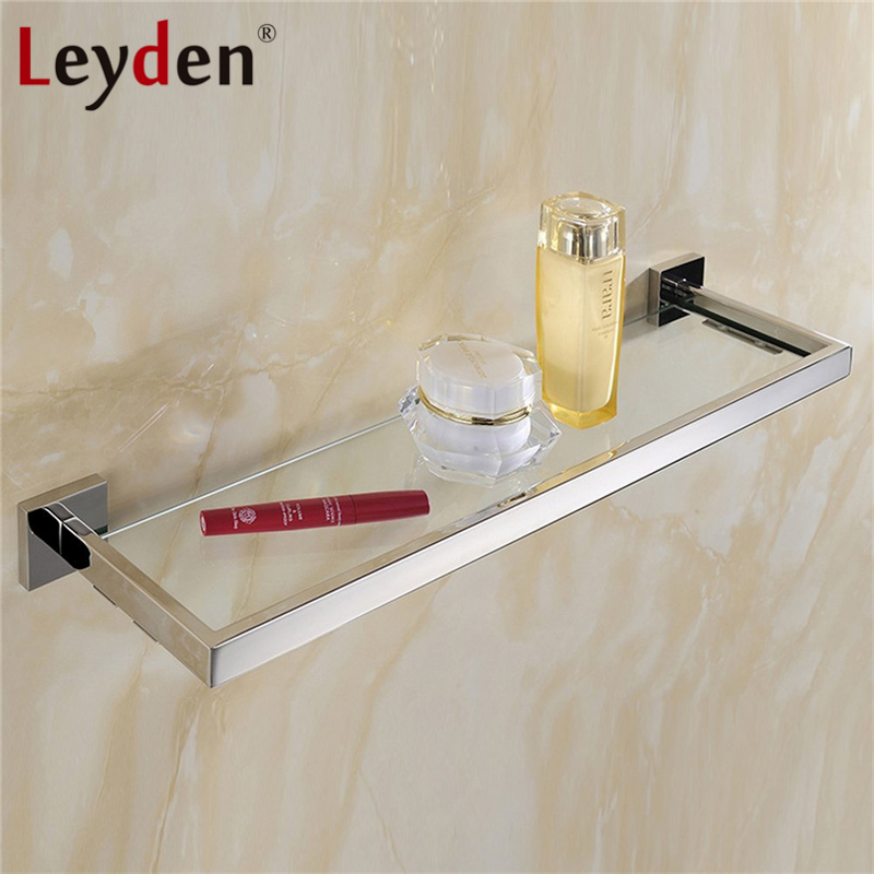 Leyden High Quality Glass Square Shelf Stainless Steel Wall Mount ORB/ Brushed Nickel/ Chrome with Glass Single Tier Bath Shelf stainless steel single deck glass shelf