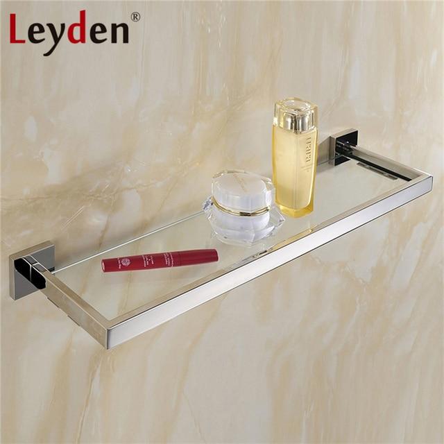 Leyden Qualitätsglas Quadrat Regal Edelstahl Wandhalterung ORB/Nickel  Gebürstet/Chrom Mit Glas Einreihigen Bad