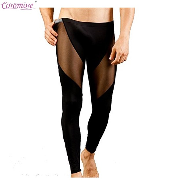 f82fa9d3ce367c Coromose Men's Sexy Ultra-thin Long Johns Transparent Mesh See-thru  Underwear Pants Tights Male Leggings for Autumn winter