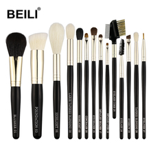 BEILI Makeup Brushes Set 14 Pieces Weasel Goat Hair Horse Synthetic Black handle Blusher Powder Foundation Eye shadow Highlight