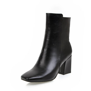 Image 3 - MORAZORA 2020 חדש אופנה קרסול מגפי נשים כיכר טו סתיו חורף מגפי פשוט רוכסן מגפי עקבים גבוהים שמלת נעליים אישה
