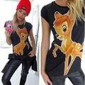 Europa e Estados unidos Mulheres Cervo Bambi Impressão Solta de Manga Curta t Camisa Casual Tops Bonito Gola Redonda T-shirt do Verão