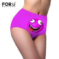 FORUDESIGNS Fashion Satin Panties Women High Waist Underwear High Rise Woman Briefs New 3D Emoji Panties