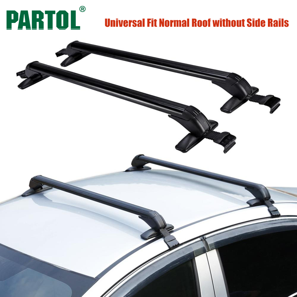 Partol 2Pcs/Set 100CM Universal <font><b>Car</b></font> Roof Rack Cross Bars Crossbars w Anti-theft Lock 60KG Cargo Basket Bike Rack Snowboard Black