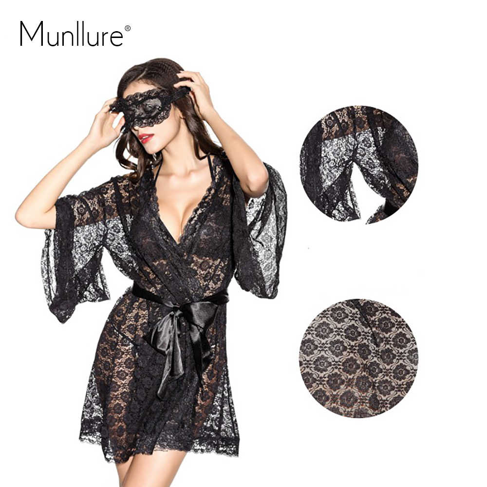 ... Munllure Black transparent lace lacing sleepwear nightgown romantic  sexy butterfly sleeve luxury robe ... c03f86941