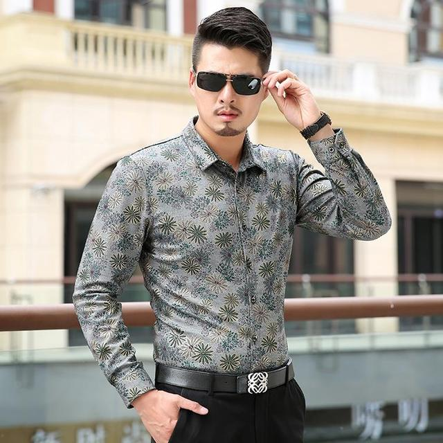 2017 Autumn Casual Men Shirt Long Sleeve Camisa Social Masculina Fashion Mens Dress Shirts Floral Chemise Homme M-5XL 6XL 7XL