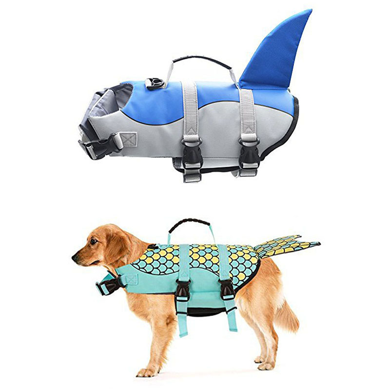 Dog Life Jacket Pet Saver Life Vest Puppy Swimming Preserver Fashion Mermaid Shark Shape Large Dog Clothes For Golden Retriever Собака