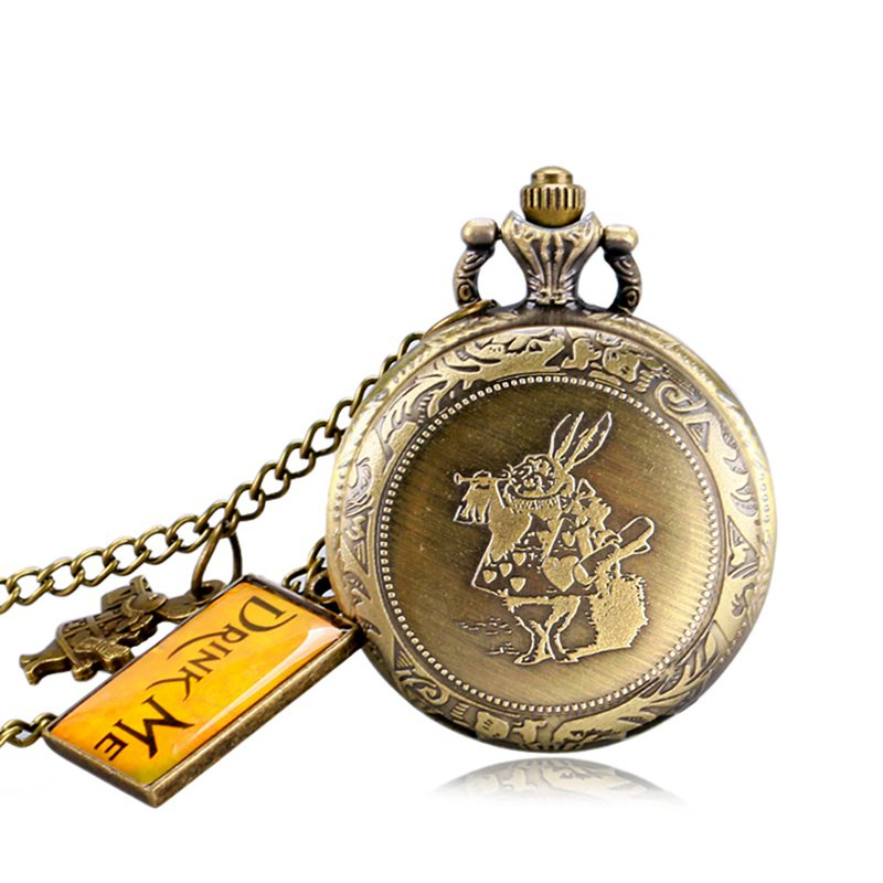 Alice in Wonderland Mad Hatter Rabbit Drink Me Tag Quartz Pocket Watch Dark Brown Glass Necklace Pendant Gifts for Women Girls 2019 2020 2021 2022 (8)