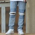 Abertura Da Perna rasgado Tassel Hi-moda Calças Dos Homens 2017 Novos Chegada Calças Jeans Retas Dos Homens Frescos Calças Azul Preto
