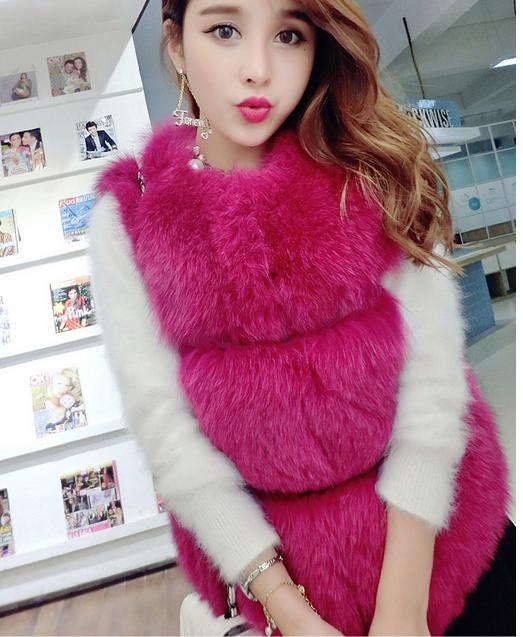 Women   basic     jacket   High Imitation Faux Fur Coats Winter Warm Thick Women coat Short sleeveless imitation fur   jacket