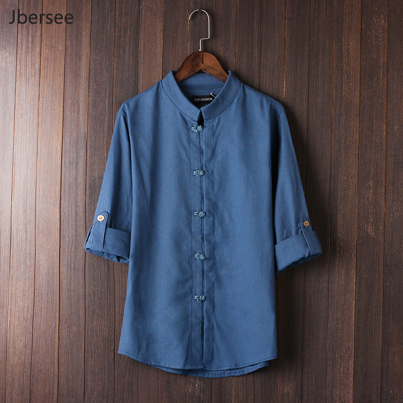 Jbersee Chinese style disc buckle Tang Mid-sleeve shirt men vintage big size 5xl linen s ...