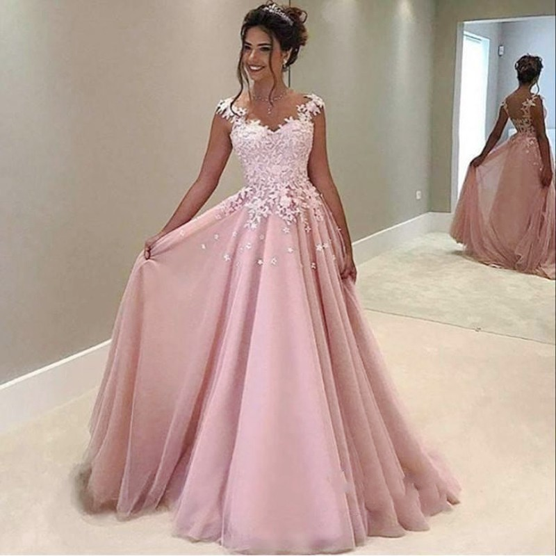 44ae90adb3bf9 Gorgeous Pink Lace Appliques Prom Gowns A-Line Long Tulle Evening Gowns  Floor-Length