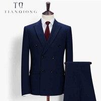 Тянь QIONG Для мужчин последние конструкции пальто брюки заказ Свадебный костюм этап одежда Костюмы модные Для мужчин s двубортный 2 шт. костюм