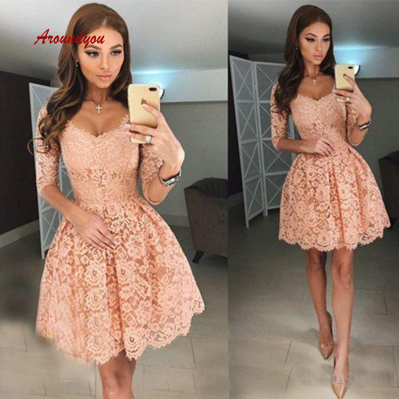 Sexy Lace Short Cocktail Dresses With Sleeves Prom Plus Size Formal Graduation Party Homecoming Dresses