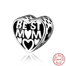 Authentic 100% S925 Sterling Silver Bead Charms Best Mom Love Beads Fit Pandora Bracelet Bangle DIY Handmade Jewelry for women