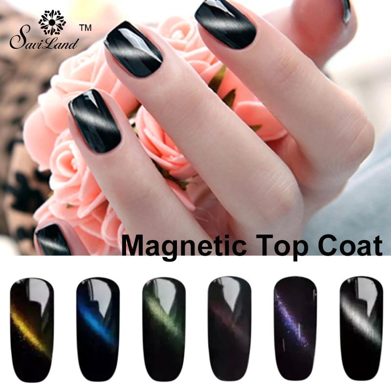 Saviland 1pcs Magnet Top Coat Gel Cat\'s Eye Nails Polish Soak Off UV ...