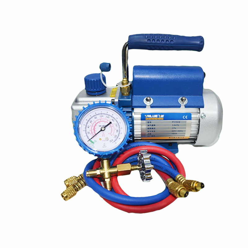 1L/s 2.12CFM with Gauge Rotary Vane Single Stage Mini Vacuum Pump for Vacuum Refrigeration Air Conditioning Refrigerator 1l s 2 12cfm r134a rotary vane single stage mini vacuum pump for vacuum refrigeration air conditioning refrigerator