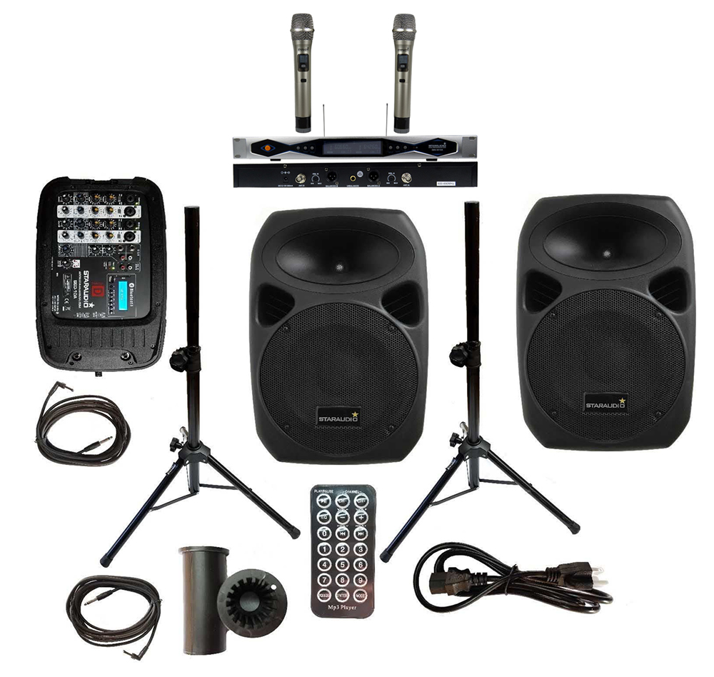 2 STARAUDIO 1500W 10PA Party Stage Passive BT DJ Speakers With 2CH UHF Wireless Mics 2 Stands W/ Powered Mixer Cables SSD-10A
