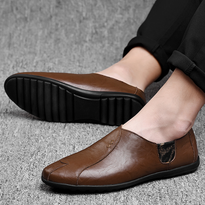 Leather Men Shoes Luxury Brand 2019 Italian Casual Mens Loafers Moccasins Breathable Slip on Black Driving Shoes Plus Size 38-47