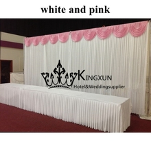 White Wedding Backdrop With Pink Swag  Wedding Curtain 3M*6M Free Shipping Best Qualit Best Quality
