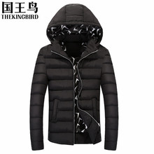 New Stylish Hood Winter Coat fashion Slim Leisure Down Jacket Men Solid Color Warm Hooded Parka