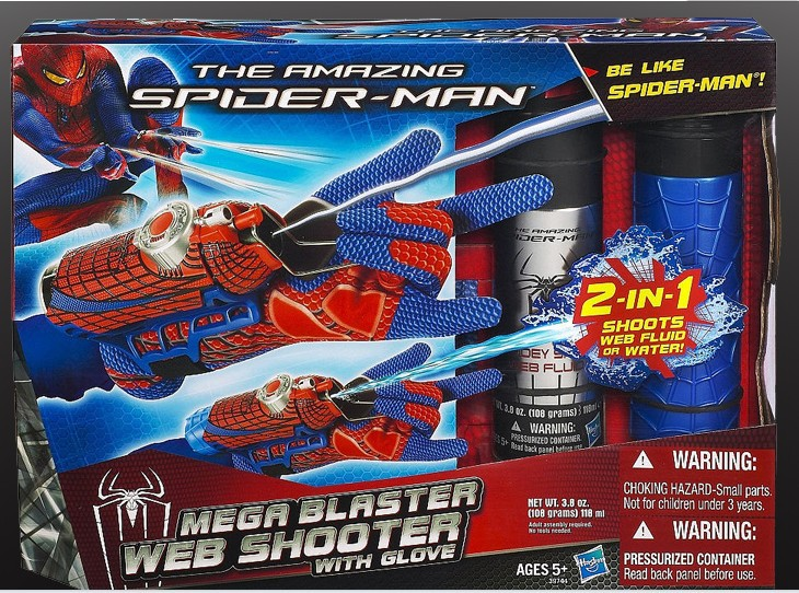 Figure Toys Amazing <font><b>Spiderman</b></font> Brinquedos Spinning Spray Web Shooter with Hero <font><b>Gloves</b></font> <font><b>2</b></font> IN 1 web fluid water shooter kid juguetes