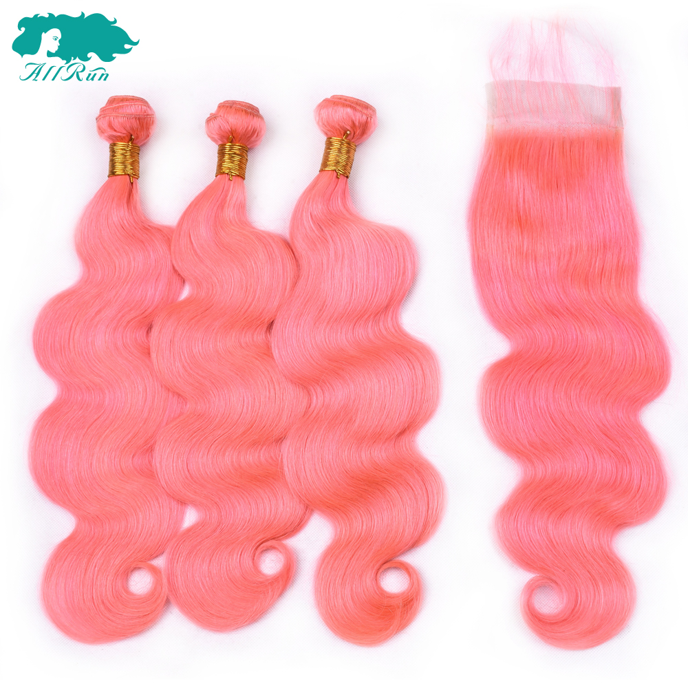 Allrun Body Wave Brazilian Hair Bundles With Lace Closure Pure Rose Pink Human Hair 3Bundles With Closure NonRemy Hair Extension
