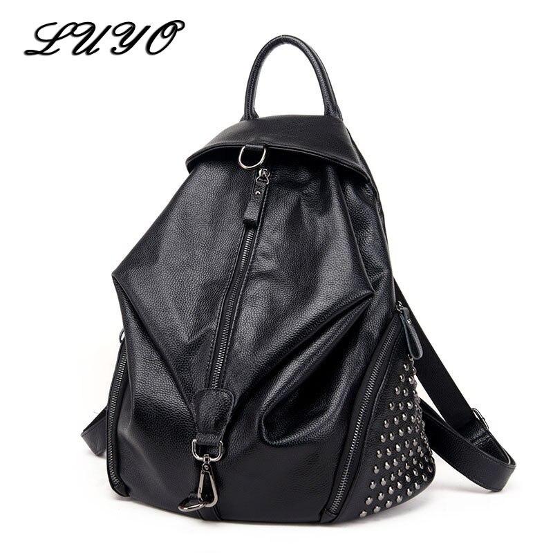 Luyo High Quality Leather Rivet Women Fashion Backpack Female Youth Bags For Teenage Girls Mochila Feminina Sac A Dos Bagpack