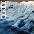 LinenAll шарфы 100% хлопок ручной завод крашение синий шарф, шаль 220*130 см