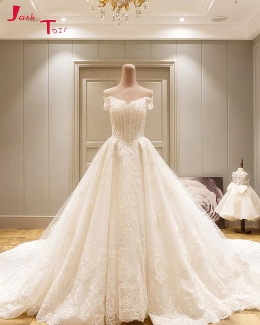 Jark Tozr Vestidos De Noiva Boat Neck Off the Shoulder White Tulle Gorgeous  A-line Wedding Gowns Dresses 2019 Chapel Train 3d1b7f34b78b