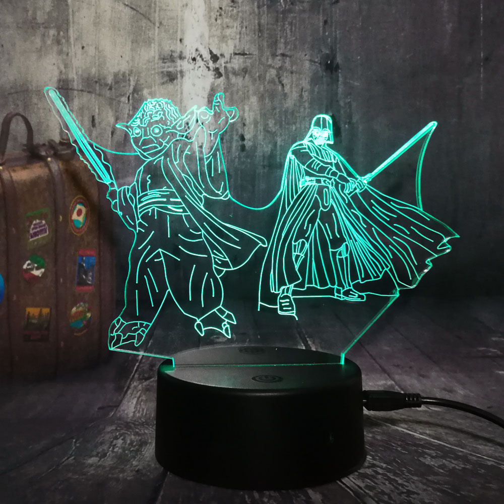 NEW 3D LED Night Light Master Yoda Darth Vader Star Wars 7 Color Chang Sleep Table Lamp Novelty Home Decor Christmas Kid Gift