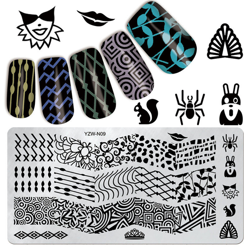ef14295d8 Newly Original Design 6 12cm Rectangle DIY Nail Art Image Stamp Stamping  Plates Manicure Template  YZW-N09