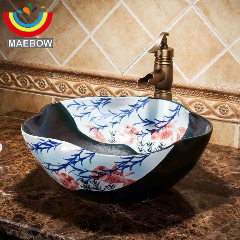 Us 182 2 50 Off Artistic Porcelain Handpainted Golden Fish Pool Flower Shape Black Countertop Ceramic Bathroom Sink Wash Basin In Sinks