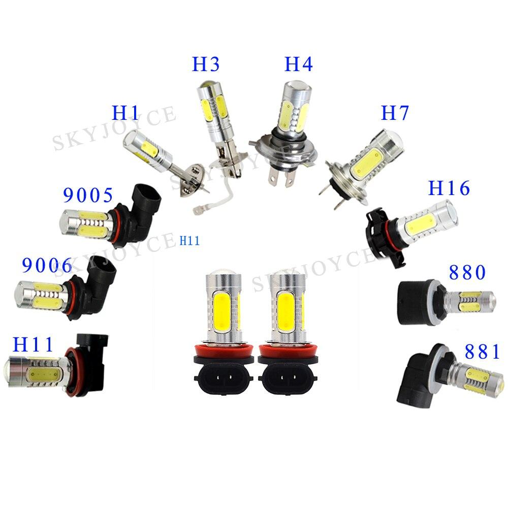 1 пара сверхярких противотуманных фар, светодиодный фонарь 12 в 7,5 Вт H1 H3 H7 H11 9005 9006 880 881 белый желтый COB для автомобильных фар, светодиодный про...