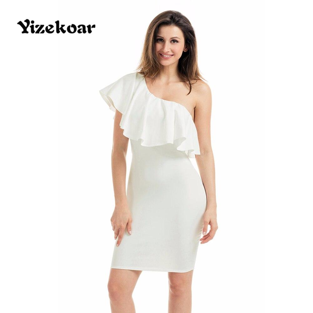 Navy short lace mini summer dress dresses elegant party vestidos brand - Yizekoar Ruffle Dress Summer Womens Short White One Shoulder Party Cocktail Mini Dress Elegant Vestidos Mujer