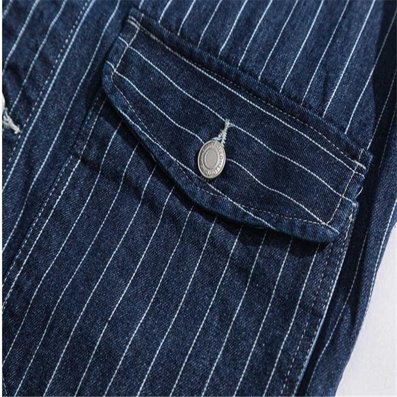 Mens Denim Vest Blue Stripe Multi-pockets Fashion Vintage Waistcoat Casual Tooling Vests Male Jean Sleeveless Jackets DS50648