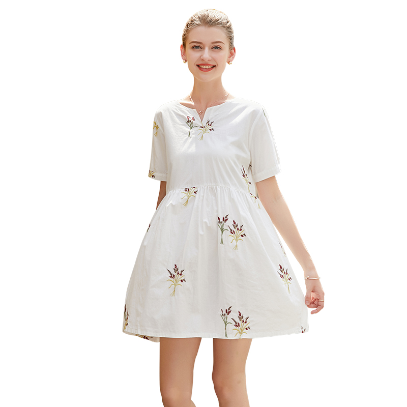 Pregnant Women Summer Dress Fashionable Mom Cotton Short Sleeve Embroidery Dress Maternity Clothes Gestante Saida Maternidade недорго, оригинальная цена