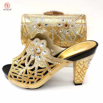 New Gold Color African Sets 2018 Nigeria Wedding Shoes and Bags Set Decoratd with Rhinestone Set Italian Shoes and Bags To Match - DISCOUNT ITEM  21% OFF All Category