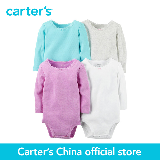 Картера 4 шт. детские дети дети С Длинным Рукавом Боди 126G337, продавец картера Китай официальный магазин