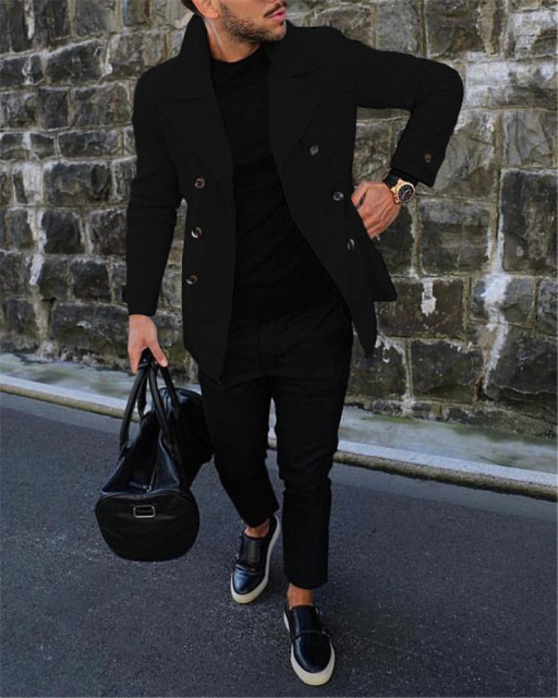 Men's Trench Coat Casual...