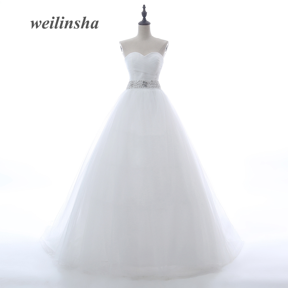 weilinsha Vintage Princess Tulle Wedding Dresses Bridal Gowns A line Soft Sweetheart Low Back With Beaded