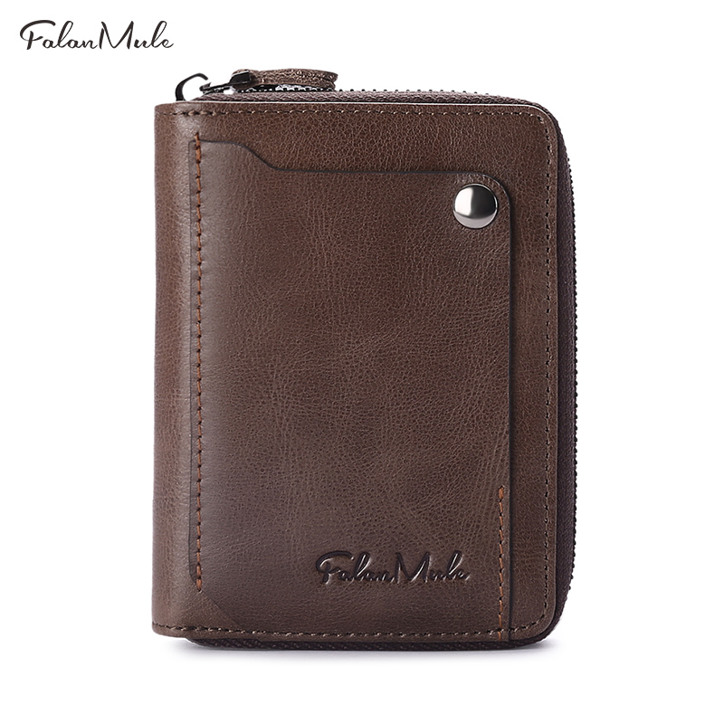 FALAN MULE vintage genuine leather men wallets short design male zipper purse wallet credit card holder with coin pocket цена и фото