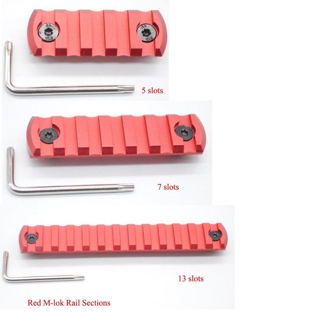 Rouge Anodisé 5/7/13 slots M-lok Picatinny/Weaver Ferroviaire Sections Segment pour M-lok Système Handguard Livraison Gratuite