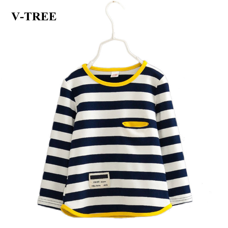 V-TREE Spring autumn stripe boys t shirt long sleeve brand t-shirts for girls cotton children boy clothes baby shirt red stripe pattern off shoulder t shirt with frill details