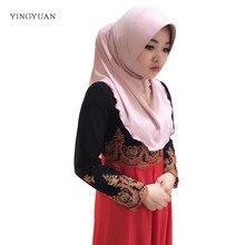 TJ67 Лето хиджабы двухслойный сплошной цвет шарф для женщин Бамбук Сделать лицо меньше мода мусульманский хиджабы(без Броши