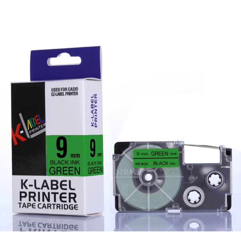 цена CIDY 30pks XR-9GN XR 9GN XR9GN 9mm black on green tape cartridge compatible for EZ label printer strong adhesive laminated tapes